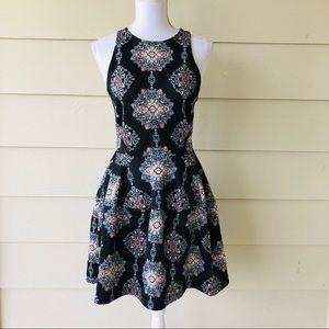 Flower Printed Black Dress